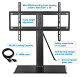 Mounting Dream MD5109 Table Top TV Stand with Anti-tip Strap and 3 Sets Height Adjustment, for Most 42-60 Inches LED, LCD and Plasma TVs up to 99 LBS, VESA from 100X100 to 600x400mm, Tempered Glass