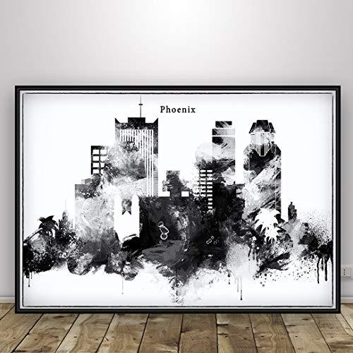 Black and White Phoenix Poster, Watercolor Skyline Print, Arizona Cityscape Print, Phoenix Wall Art Decoration, Pastel City Skyline, Home Decor Art, Unfraned print
