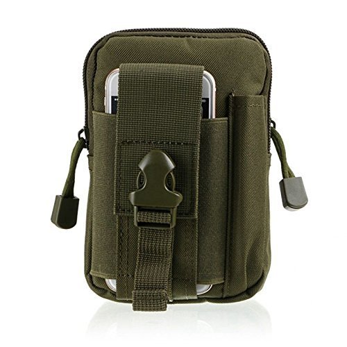 StyleZ Tactical Molle Pouch Compact EDC Utility Gadget Belt Waist Bag with Cell Phone Holster Holder for iPhone 8 Plus (Green)