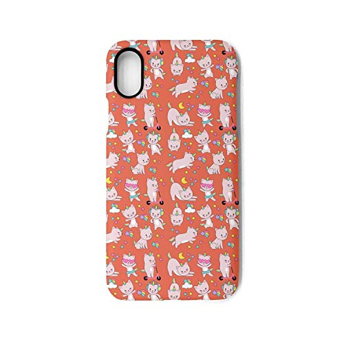 Cartoon Cute White Cat Unicorns Funny iPhone X&iPhone 10 Case,TPU&PC Slim Fit Anti-Scratch Protective Cover Compatible with Apple iPhone X&iPhone 10 Case(5.8in) -