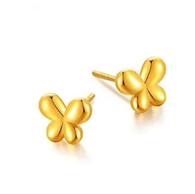 69e870d595979 Amazon.com: GOWE 24K Pure Gold earring solid 999 Gold 3D Hard Gold ...
