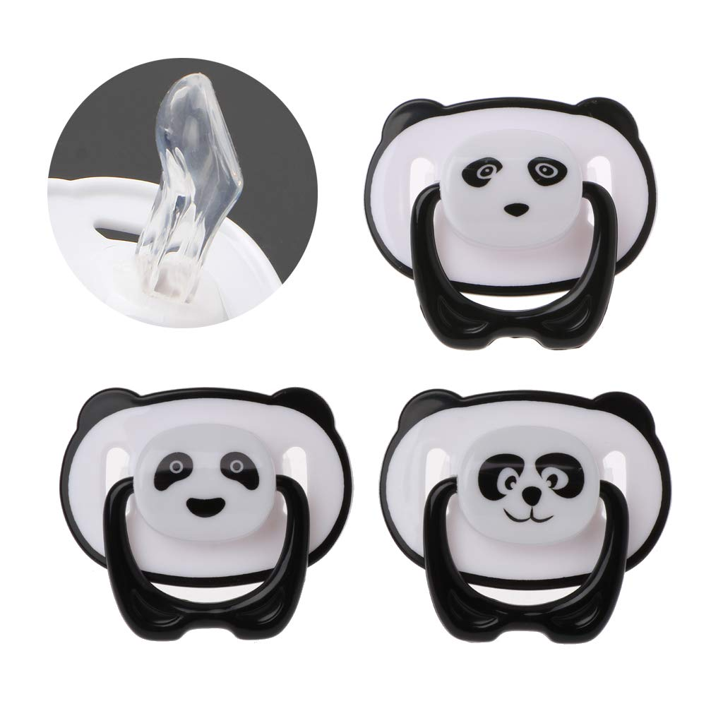 LANDUM Pacifier Baby Panda Pacifier Baby Nursing Toy Chew Toy Teething Rattles Toy Flat Head