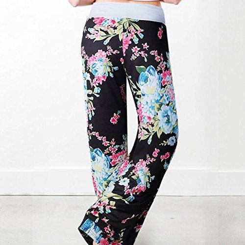 Grande 0911 Yoga Floral Femme Détente Pyjama Noir Elastique D'intérieur Imprimé De Large Sport Jogging Taille Pants Pantalon Jambe Eté Décontracté Cq1Bfw1