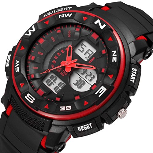 (LtrottedJ Men's Digital Quartz Sport Watches ,Mountaineering Waterproof Electronic Watches (Red))