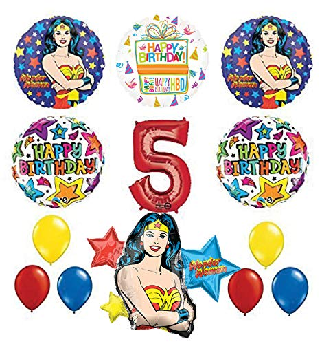 Mayflower Products Wonder Woman 5th Birthday Party Supplies and Balloon Decorations]()