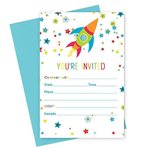 Space Birthday Party Invitations with Aqua Envelopes ( 15pc. -