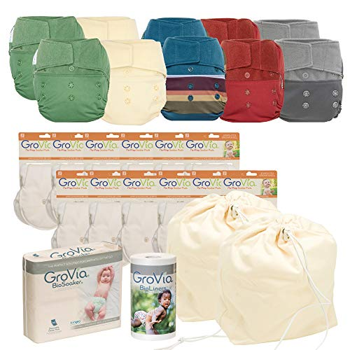 GroVia - Cloth Diaper Bundle for Natural Parenting - (10) Reusable Hybrid Diaper Shells - (1) BioSoaker Eco Friendly Inserts 50pk - (1) Unscented BioLiner 200ct - (12) Soaker Pads - (1) Pail Liner