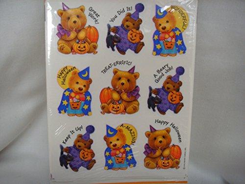 Vintage Hallmark Halloween Pumpkin Autumn Teddy Bear Reward Stickers Scrapbooking ; 1 sheet