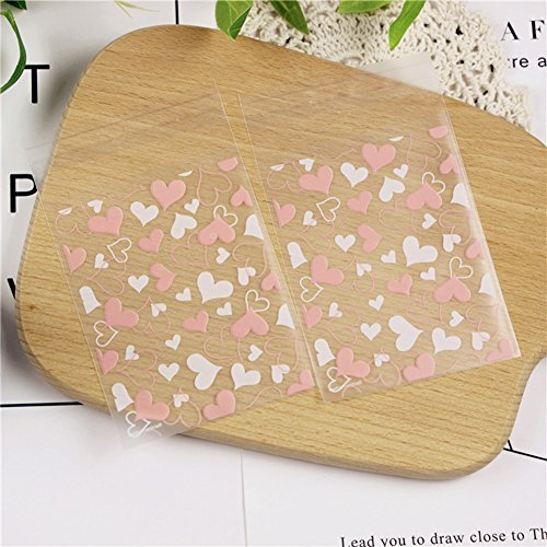 Hustar 100 Pcs Cute Heart Resealable Cello Cellophane Bags Good for Bakery Candle Soap Cookies Poly Bags ()