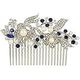 EVER FAITH® Crystal Gatsby Inspired Ivory Color Simulated Pearl Hair Comb - Blue-20-Teeth-Silver-Tone Bild