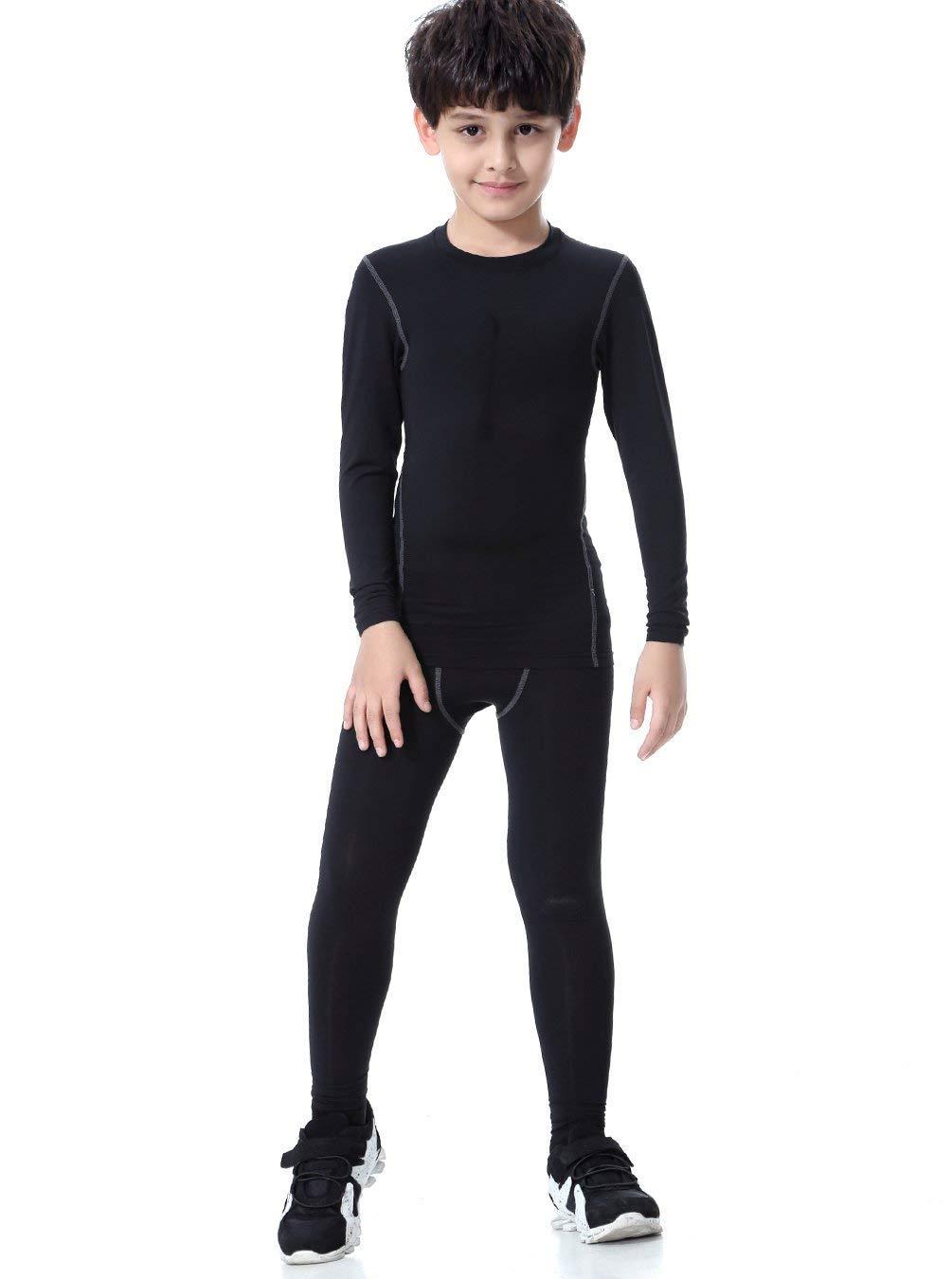 LNJLVI Kids Boys Compression Long Sleeve Quick Dry Pant Sports Base Layers 2 Set