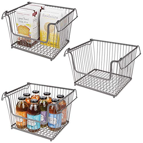- mDesign Modern Stackable Metal Storage Organizer Bin Basket with Handles, Open Front for Kitchen Cabinets, Pantry, Closets, Bedrooms, Bathrooms - Large, 3 Pack - Graphite Gray