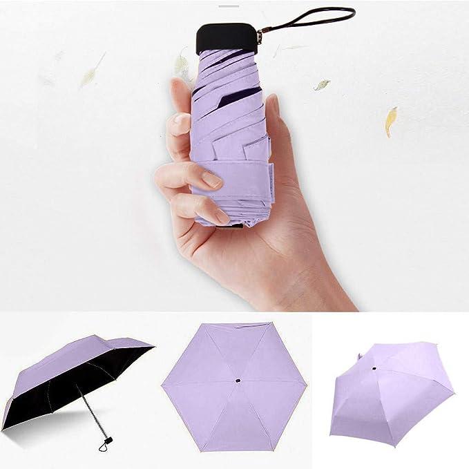 Cliramer Mini Travel Umbrella Light Compact Sun&Rain Outdoor Comfortable Square Handle Pocket Umbrella (Purple)