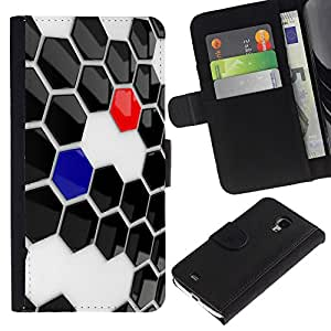 Planetar® Colorful Pattern Flip Wallet Leather Holster Protective Skin Case Cover For Samsung Galaxy S4 Mini i9190 / i9195 (Not For S4) ( Abstract Hexagon )