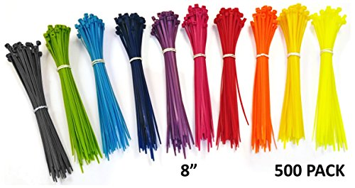 Nylon Cable Ties - 8 - Multi Color (Blue, Red, Green, Yellow, Fuschia, Orange, Gray, Purple) - 500 Pieces