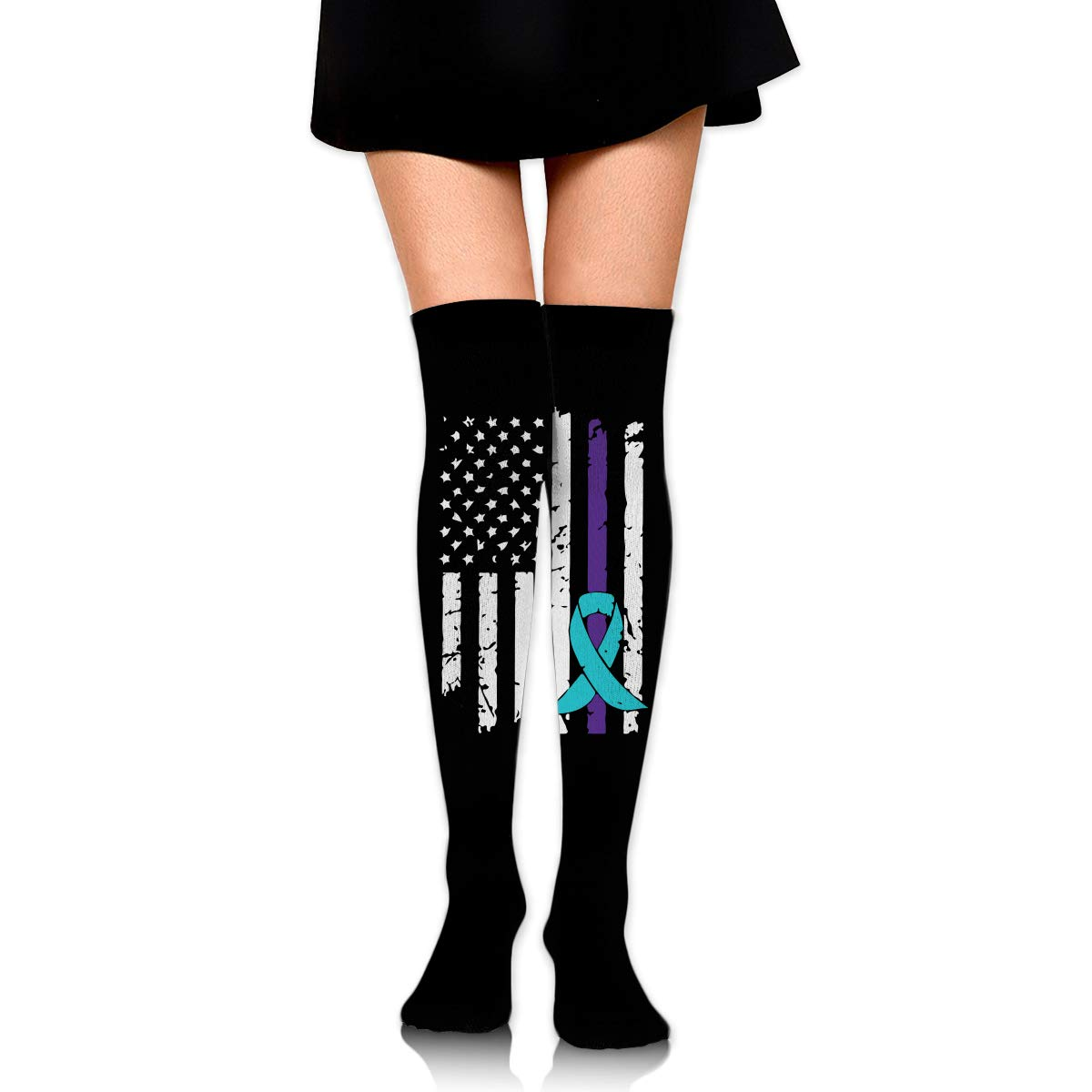 One Size Girls Womens Suicide Prevention Awareness Flag Over Knee Thigh High Stockings Fashion Socks