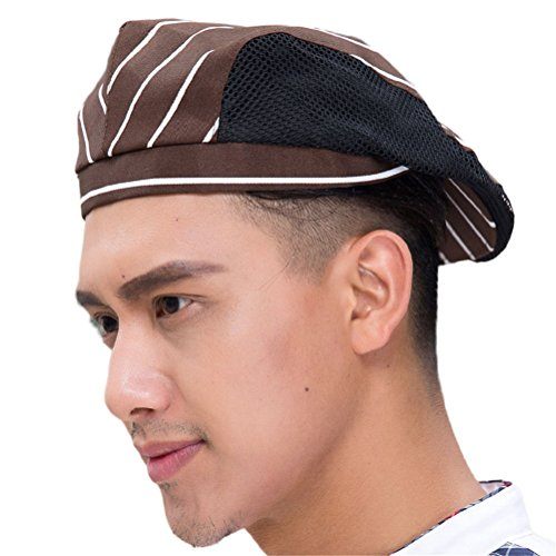 Striped Womens Beret - Nanxson(TM Chef Flat Beret Pastry Baker Kitchen Summer Mesh Cooking Works Uniforms Chef Hat for Adults CF9021 (Coffee Striped)