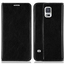 JAMMYLIZARD [ Samsung Galaxy S5 / S5 Neo Case ] Swiss Wallet Leather Flip Cover, Black