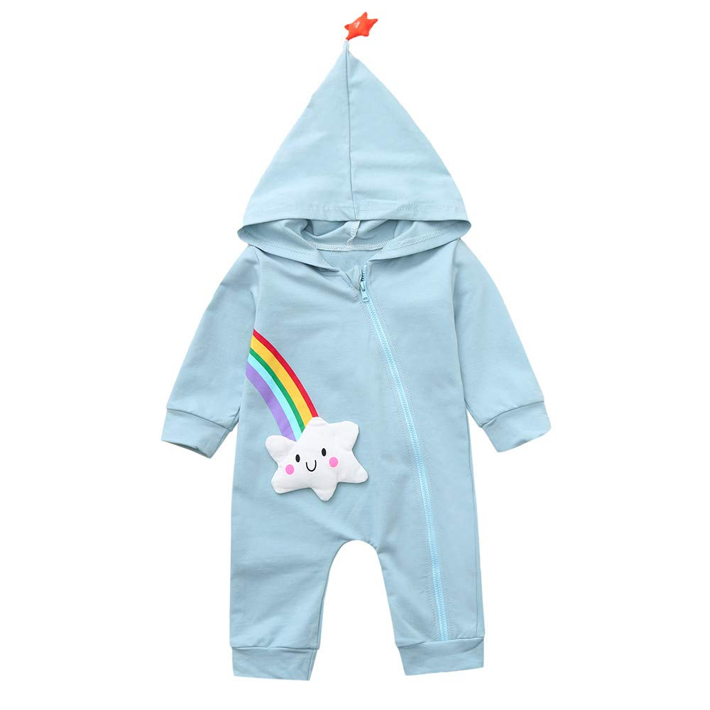 Janly Baby Clothes Set Girls Boys Rainbow Star Print Hooded Jumpsuit Toddler Long Sleeve Zipper Romper 0-2 Years Old Infant Outfits