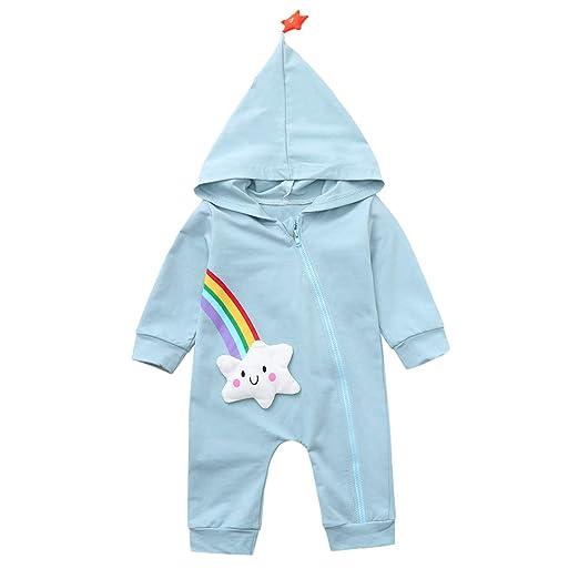 861af34dc68 Amazon.com  Cuekondy Infant Toddler Baby Boy Girl Cute Cartoon Rainbow  Cloud Zip Hoodie Romper Jumpsuit Pajamas Winter Outfits  Clothing