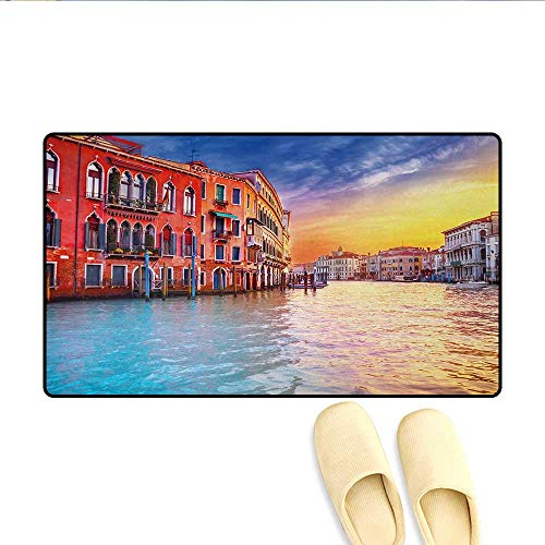 Bath Mat,European Magical Venice Canal with Historical Buildings Famous Town Scenery,Door Mats for Inside,Blue and Orange,Size:16