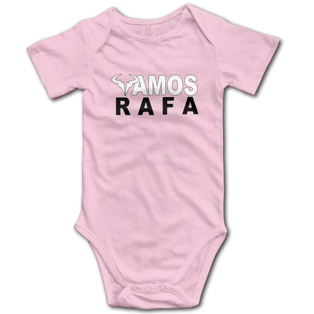 Koucas Baby Girls Boys RAFA Vamos Rafael Nadal Logo Kids Bodysuits Short Sleeve Cotton Tshirt T Shirt Tollder Clothes Pink 0-3M by Koucas