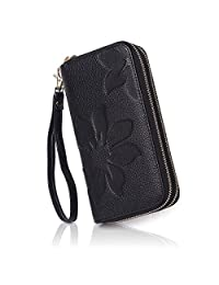 APHISON Women RFID Blocking Purse Zipper Leather Wallet Card Holder/Gift Box 8348 (BLACK)