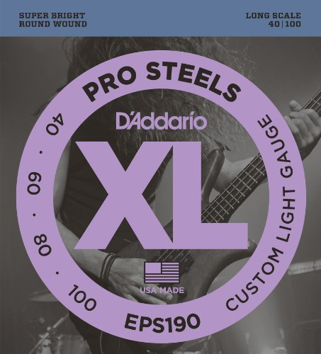 D'Addario EPS190 ProSteels Bass Guitar Strings, Custom Light