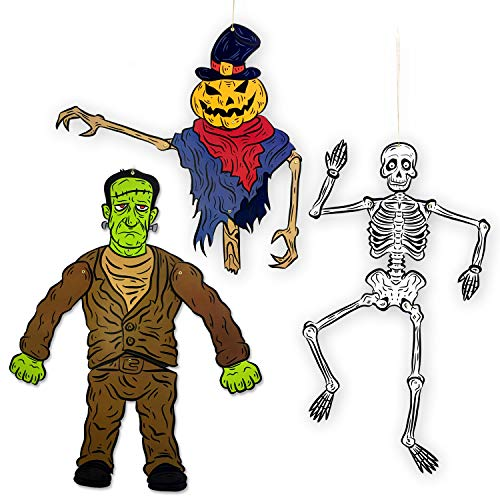 Halloween Door Decorations - Tall Flexible Halloween Skeleton, Pumpkin Ghost, Frankenstein Decoration - 3 Tall Monsters -