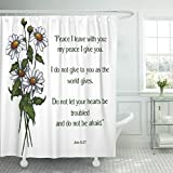 Breezat Shower Curtain Jesus Bible Verse with Artwork of Daisies Disciples Waterproof Polyester Fabric 72 x 72 Inches Set with Hooks