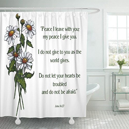 Breezat Shower Curtain Jesus Bible Verse with Artwork of Daisies Disciples Waterproof Polyester Fabric 60 x 72 Inches Set with Hooks by Breezat