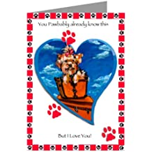 Yorkshire Terrier on Haute Couture Vintage Luggage Valentines Card