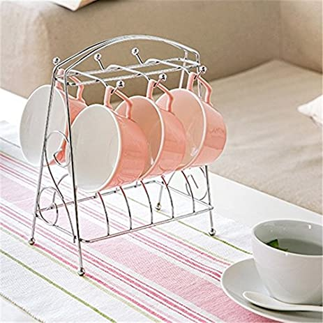 Merveilleux Tea Coffee Cup Mug Rack Hanging 6 Cups Storage Shelf Kitchen Draining  Drying Organizer Stand Holder