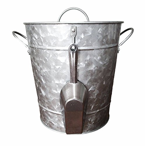 Antique Ice Scoop - Galvanized Metal Ice Bucket and Scoop - Steel Construction - Plastic Insert - Lid Included - Bonus Chalkboard Labels and Marker