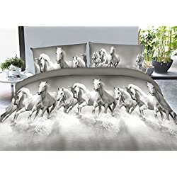 Vivid 3D Bed Sheet Set Wild Life Animals, Group of White Horses Running Cross River Print in Queen King Size - Wrinkle Free, Fade Resistant, Ultra Soft (King, WHITEHORSE-Y49)