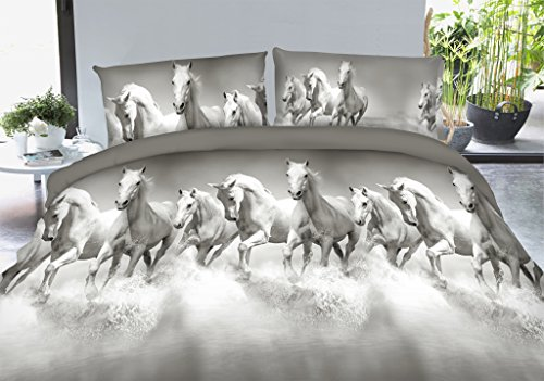Vivid 3D Bed Sheet Set Wild Life Animals, Group of White Horses Running Cross River Print in Queen King Size - Wrinkle Free, Fade Resistant, Ultra Soft (King, WHITEHORSE-Y49) by HIG