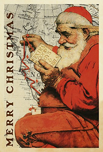 Toland Home Garden Santa At The Map 28 x 40 Inch Decorative