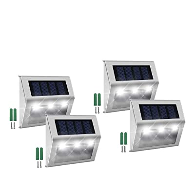 Solar Step Lights, FAMI Solar Lights Outdoor, Solar Led Lights, Solar Deck Lights Waterproof 3 LED 30LM for Stairs Patio Deck Yard Garden Outsides Path Fence Post(4 Pack)