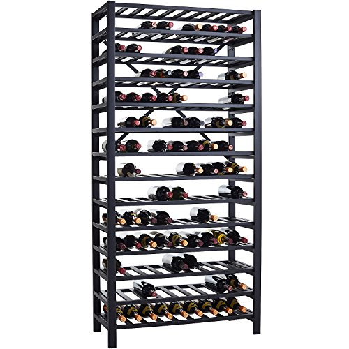 Wine Enthusiast Free Standing Metal Wine Rack, Black Steel - Holds 126 Bottles ()