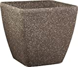 Stone Light SK Series 11 in. Cast Stone Square Planter, Mocha Sandstone, Pack of 6 pcs