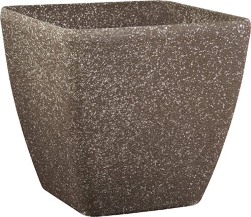 Stone Light SK Series 11 in. Cast Stone Square Planter, Mocha Sandstone, Pack of 2 pcs (Planters Terra Cast)