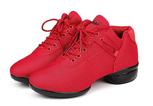 Women's Breathable Soft Sole Jazz Dance Lace-up Dance Sneaker,red