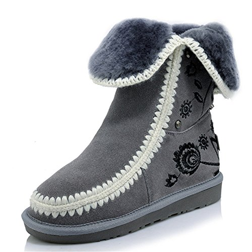 Flat Heel Leather Suede Round Snow Toe Women's Seven Bootie Handmade Embroidery Nine Grey HYaqxSw