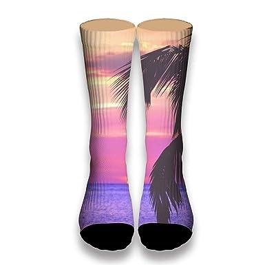e903e6d18380 AprilShe Custom 3D Printed Socks Sunset and coconut trees Funny Patterned  Sock Sports Crew Socks White