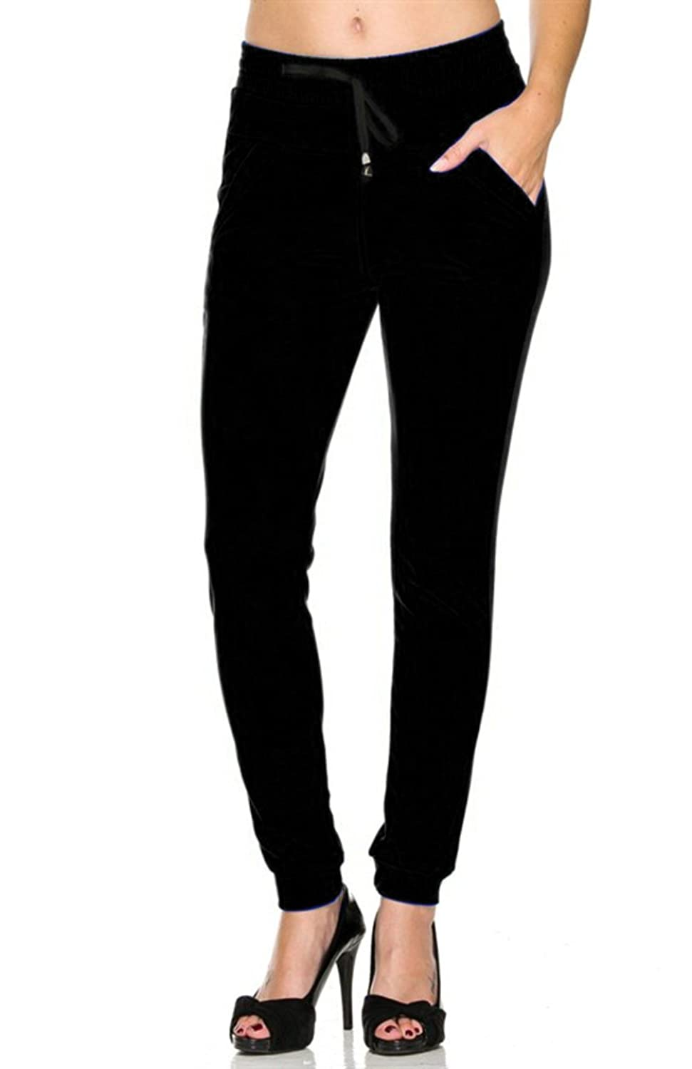 2LUV Women's Comfy and Trendy Jogger Pants with Drawstring and Zipper Pockets