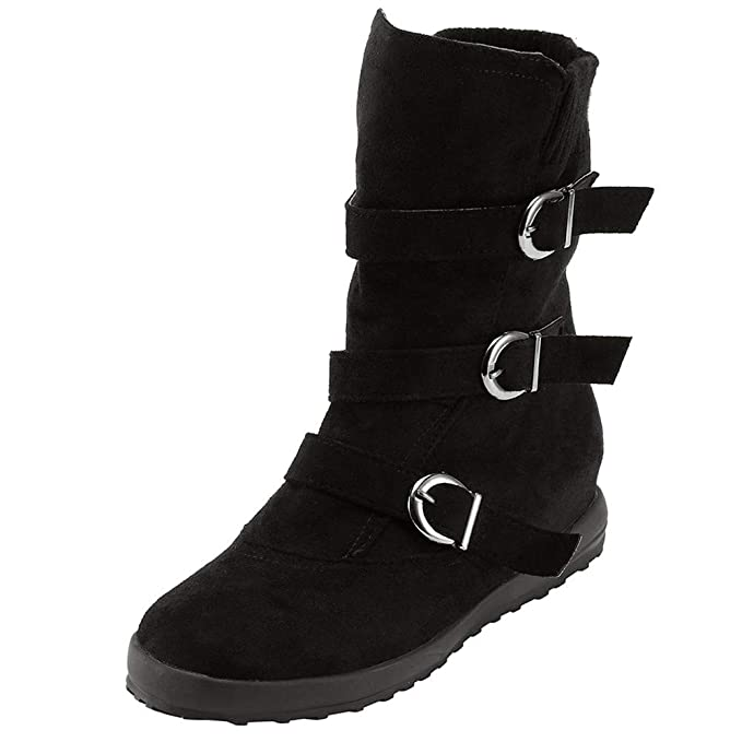 65a9fc65bb642 Women's Vintage Buckle Strap Mid Boots Comfort Flat Snow Boots Warm Suede  Round Toe Zipper Mid Calf Boots 5.5-9.5