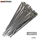 EPMAN Exhaust Heat Stainless Steel Cable Ties Wrap Metal Tie Extra Long & Wide Large ( Pack Of 100)