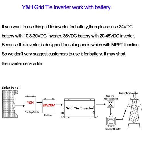 Y&H 1000W Grid Tie Inverter Stackable MPPT Pure Sine Wave DC10.8-30V Solar Input AC90-140V Output for 12V Solar Panel by Y&H (Image #6)