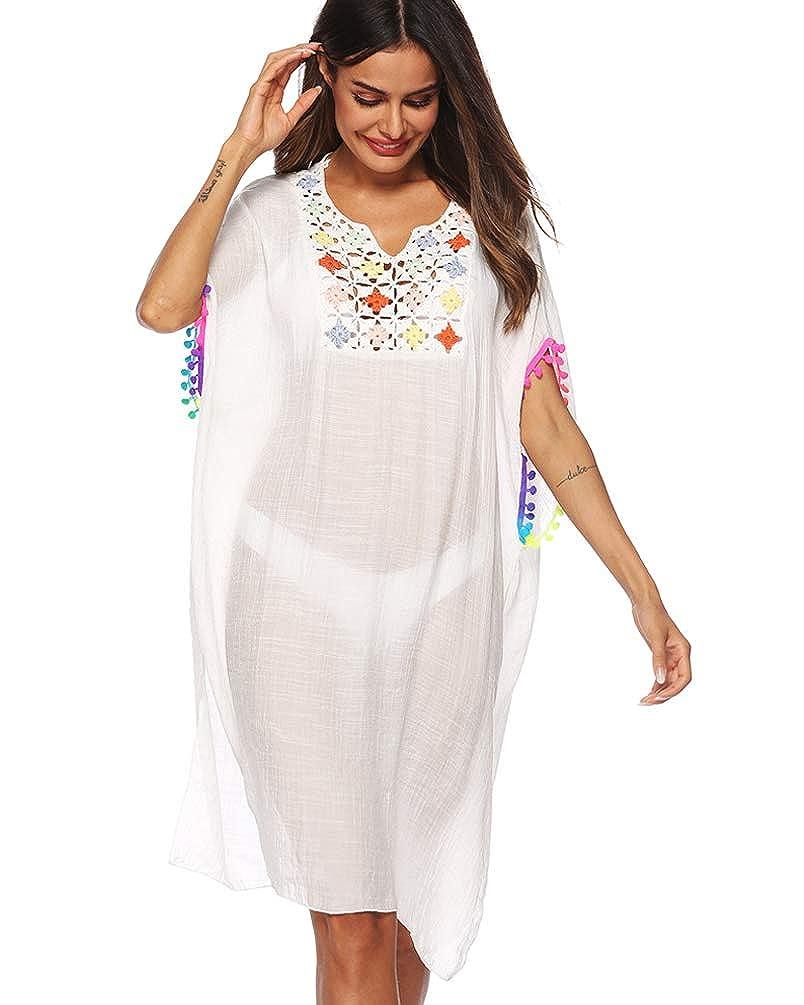 2019 New White Womens Bathing Suit Cover Ups Cotton Tassel Crochet Trim Bikini Swimsuit Beach Cover Ups
