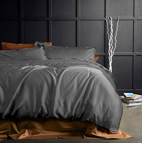 Solid Color Egyptian Cotton Duvet Cover Luxury Bedding Set High Thread Count Long Staple Sateen Weave Silky Soft Breathable Pima Quality Bed Linen (King, Graphite)